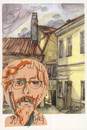Cartoon: Self-portrait (small) by Kestutis tagged dada,watercolor,postcard,portrait,kestutis,lithuania