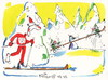Cartoon: Alpine skiing. Skier adventures (small) by Kestutis tagged dwarf skier adventures skiing winter sports olympic sochi 2014 mountain kestutis lithuania