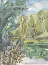 Cartoon: Summer etudes. Overgrown lake (small) by Kestutis tagged summer etude lake kestutis lithuania sketch watercolor
