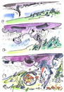 Cartoon: TORNADO (small) by Kestutis tagged tornado,forest,mushrooms,wald,pilze,sammeln