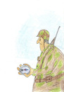 Cartoon: soldier-compass (small) by Zoran tagged war,soldier,compass,suffering,destruction,death