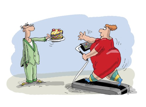 Cartoon: Fitness slimming (medium) by krutikof tagged husband,wife,trainer,lose,weight,jogging,treadmill,completeness,full,cake,shape,fitness,sports,bait,house,family,man,woman,relationship