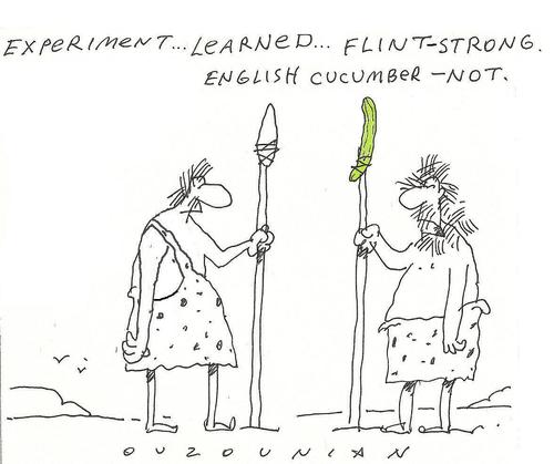 Cartoon: early scientists (medium) by ouzounian tagged spear,experiment,cucumber,prehistoric