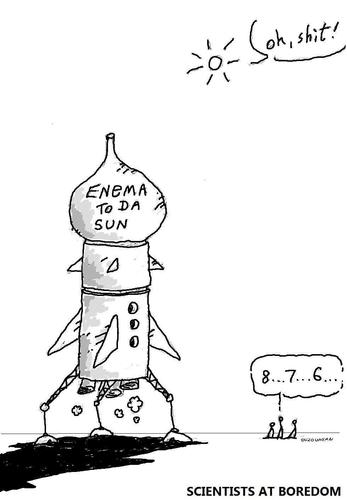 Cartoon: enemas and stuff (medium) by ouzounian tagged enemas,rockets,scientists,experiments,sun,space