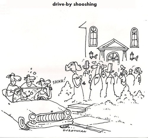 Cartoon: drive-by (medium) by ouzounian tagged manners,gangs,gangbangers,party,driveby,crime,neighbors