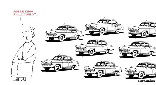 Cartoon: ouzounian (medium) by ouzounian tagged collage,cars,paranoia