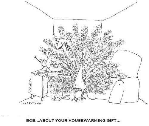 Cartoon: gifts and stuff (medium) by ouzounian tagged housewarming,gifts,friends,men,appartment,presents,peacocks