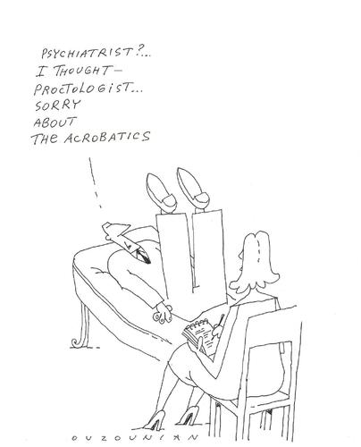 Cartoon: proctology (medium) by ouzounian tagged proctologyst,doctors,psychiatrists,patients