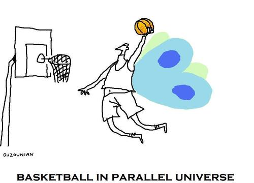 Cartoon: sports and stuff (medium) by ouzounian tagged basketball,parallel,universe,butterflies