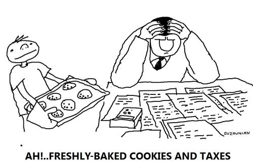 Cartoon: taxes and stuff (medium) by ouzounian tagged taxes,stress,cookies,kids,depression