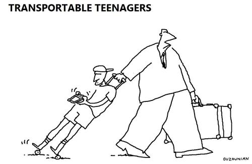 Cartoon: teenagers and stuff (medium) by ouzounian tagged teenagers,phones,luggage,travelling