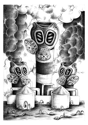 Cartoon: Chimneys and masks (medium) by dragas tagged dragas,pancevo,serbia,nature,ecological,destruction