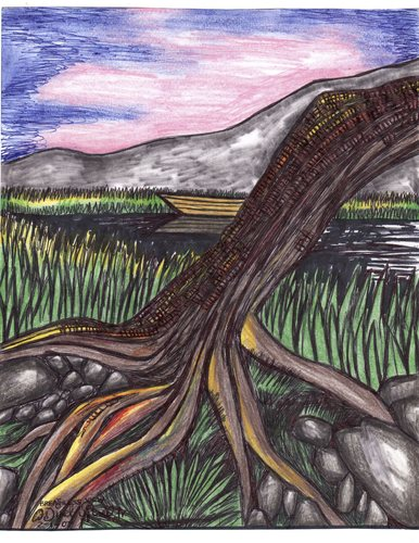 Cartoon: breathless view (medium) by odinelpierrejunior tagged trees,lakes,nature,drawings,paintings,design