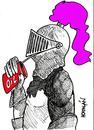 Cartoon: LUBRICANDO (small) by HCATALAN tagged oil,caballeros,aceite,medioevo