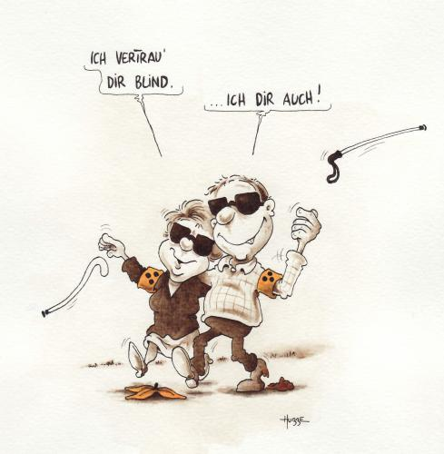 Cartoon: bindes vertrauen (medium) by ms rainer tagged blind,liebe,