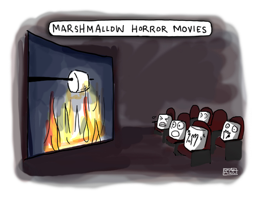 Cartoon: Marshmallow Horror Movies (medium) by a zillion dollars comics tagged media,film,movies,entertainment,camping,food,fear,terror