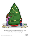 Cartoon: The Secret Is Out (small) by a zillion dollars comics tagged christmas,holidays,santa,family,tradition,gifts,tree