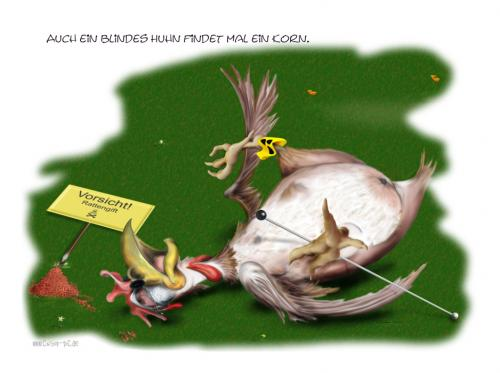 Cartoon: Auch ein blindes Huhn... (medium) by KryCha tagged redewendung,huhn,blind,