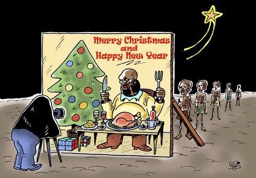 Cartoon: Christmas and New Year... (medium) by Vejo tagged christmas,newyear,hunger,third,world