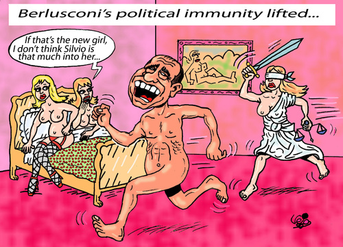 Cartoon: POLITICAL IMMUNITY... (medium) by Vejo tagged berlusconi,corruption,immunity