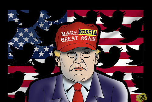 Cartoon: TRUMP...Twitter damage (medium) by Vejo tagged trump,twitter,damage,russia,usa,traitor,president,verenigde,staten