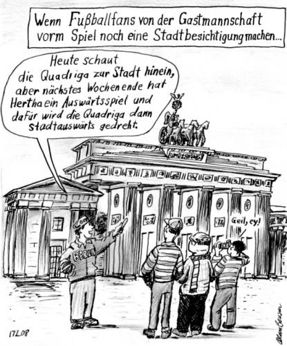 Cartoon: Fußballfans vorm Brandenb. Tor (medium) by Alan tagged fußballfans,brandenburger,tor,quadriga,berlin,hertha,stadtbesichtigung