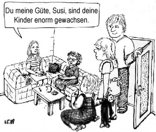 Cartoon: Kinder wachsen (medium) by Alan tagged kinder,wachstum,wachsen,susi,children,grow,family,familie,