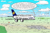 Cartoon: A380 auf Sichtflug (small) by Alan tagged airbus a380 lufthansa sichtflug flugzeug flugobjekte airplane visual flight