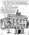 Cartoon: Fußballfans vorm Brandenb. Tor (small) by Alan tagged fußballfans,brandenburger,tor,quadriga,berlin,hertha,stadtbesichtigung