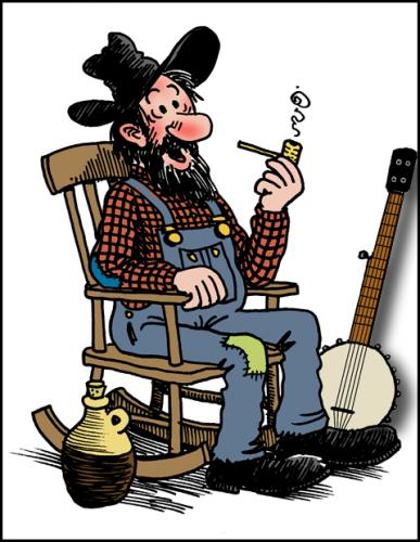 Cartoon: Cousin Gus (medium) by deleuran tagged hillbilly,banjo,rocking,chair,country,old,time,american,folk,music,moonshine,whiskey