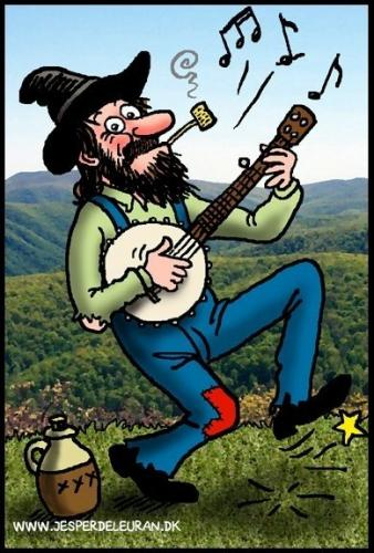 Cartoon: Dancing hillbilly playing banjo (medium) by deleuran tagged hillbilly,old,time,country,music,banjo,whiskey,jug,corn,pibe