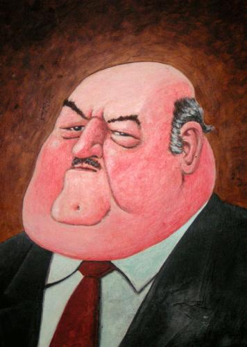 Cartoon: Fat man (medium) by deleuran tagged paintings,caricature,art,