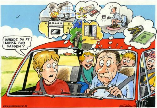 Cartoon: Remember to turn off the gas. (medium) by deleuran tagged vacations,family,driving,memory,fear,