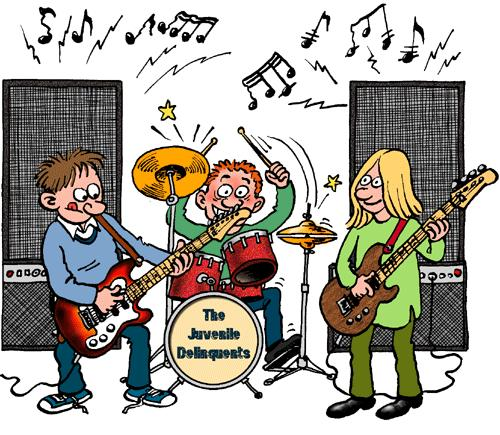Cartoon: The Juvenile Delinquents (medium) by deleuran tagged music,blues,pianos,jazz,rock,children,guitars,speakers,drums,