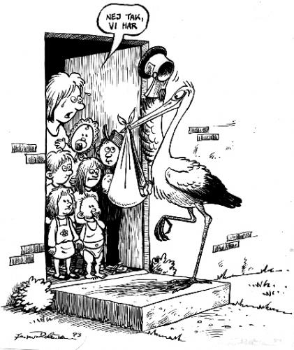Cartoon: The stork comes with the babies (medium) by deleuran tagged kids,children,mothers,storks,population,,the