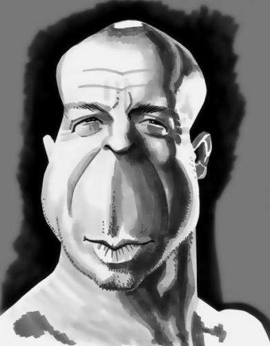 Cartoon: Bruce Willis (medium) by spot_on_george tagged bruce,willis,die,hard,caricature