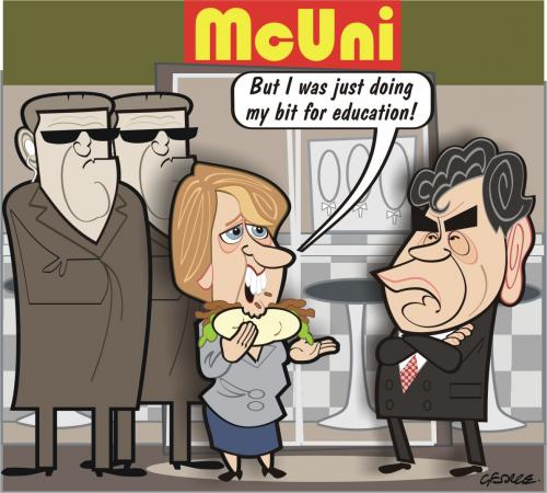 Cartoon: McUniversity (medium) by spot_on_george tagged jacqui,smith,macdonalds,kebab,grodon,brown