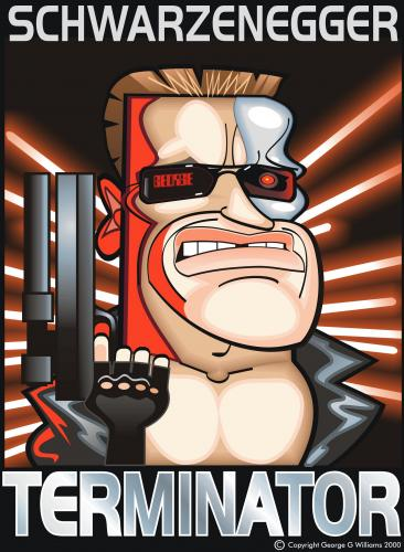 Cartoon: Terminator (medium) by spot_on_george tagged terminator,arnold,schwarzennegger,caricature