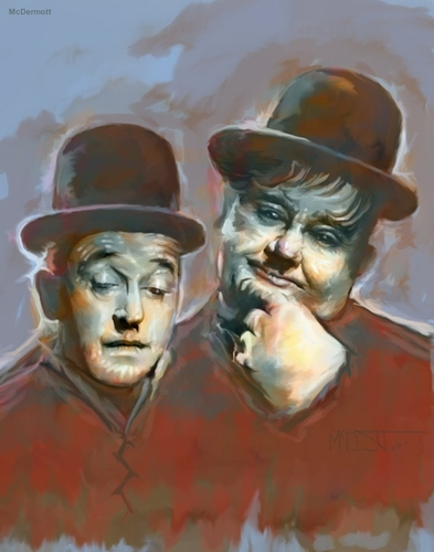 Cartoon: Laurel and Hardy Famous Comedian (medium) by McDermott tagged laurelan,hardy,famous,comedian,comedy,tv
