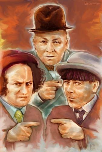 Cartoon: The Three Stooges (medium) by McDermott tagged babe,curly,moe,shemp,comedy,3stooges