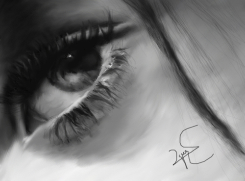 Cartoon: eye and love (medium) by ressamgitarist tagged drawing,portrait,photoshop
