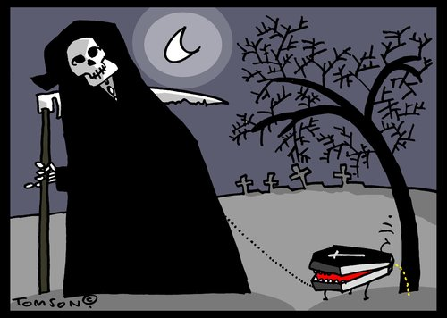 Cartoon: Mr. Death with doggy (medium) by to1mson tagged smierc,dead,death,tod,sterben,trumna