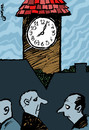 Cartoon: Uhr (small) by to1mson tagged uhr,zegar,clock,wieza,turm,tower,zycia,leben,life,przesad,black,cat