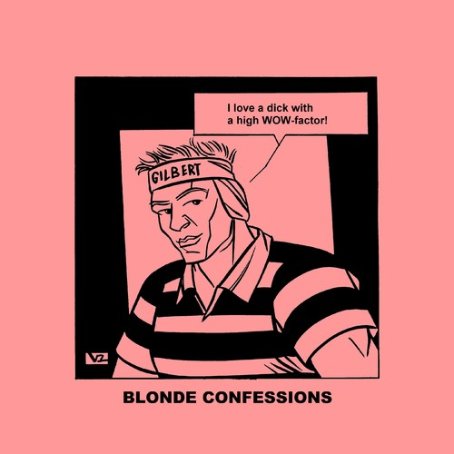 Cartoon: Blonde Confessions - WOW factor! (medium) by Age Morris tagged tags,victorzilverberg,atomstyle,blondeconfessions,agemorris,aboutloveandlife,dumbblonde,hotguy,gay,wowfactor,dick,rod,love
