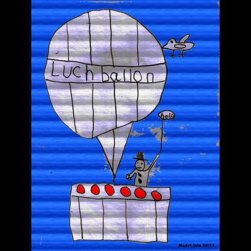 Cartoon: MH - The Hot Air Balloon (medium) by MoArt Rotterdam tagged kindertekening,hotairballoon,luchtballon,balloon,moartcards,moart,rotterdam