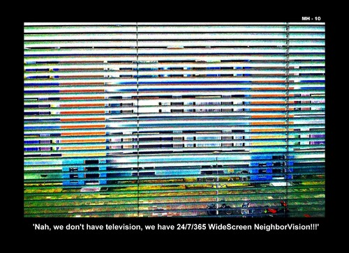 Cartoon: MH - WideScreen Neighbor-Vision (medium) by MoArt Rotterdam tagged television,neighbor,neighbour
