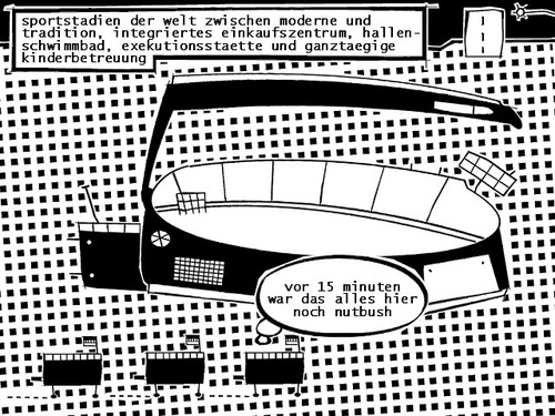 Cartoon: stadion (medium) by bob schroeder tagged fussball,wm,weltmeisterschaft,stadion,worldcup,architektur,zeitgeist