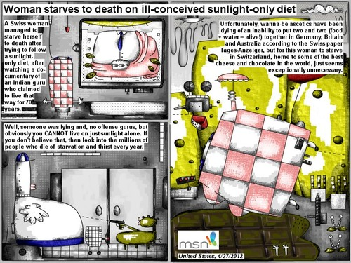 Cartoon: sunlight only diet (medium) by bob schroeder tagged woman,starvation,sunlight,diet,guru,death,thirst,ascetic,food,water,nutrition,cheese,chocolate
