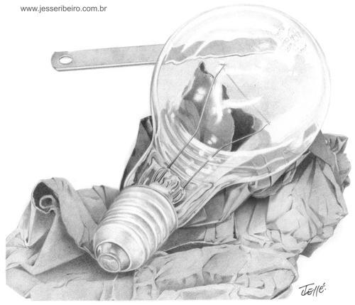 Cartoon: Lampada (medium) by Jesse Ribeiro tagged lamp,pencil,illustration,technology