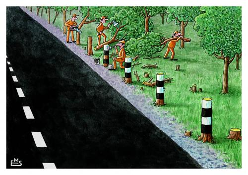 Cartoon: Road Construction (medium) by Makhmud Eshonkulov tagged forest,trafic,nature,global,warming,climate,change